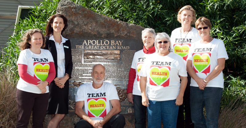 "L to R, Pip Cuming, (AB&DHF), Jenny Rippon (Bendigo Bank), Andrew ""Buck"" Buchanan (AB&DHF), Valda Bawden (Apollo Bay News Sheet), Pamela Carey (Run4Us Coordinator), Kerry McMahoh (AB&DHF) and Di Clark (AB&DHF)"