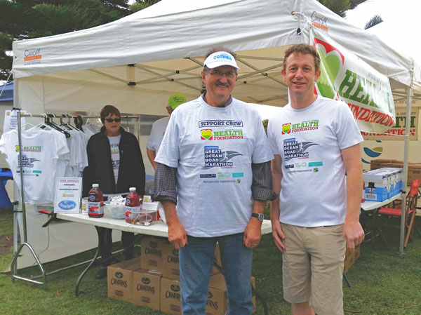 Mayor Frank Buchanan and last year's highest fundraiser, Steve Neal, at the Health Foundation Stall